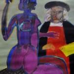 Cedrón Alberto - Rembrandt y su modelo - óleo s/ lienzo - 80 x 100. - 2002