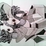 Scasso Alejandro - Virus mitológico 3 - 9 hojas A3 126 x 100 - Tinta china s/ papel - 2015